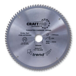 Trend CSB/AP25084 Craft Saw Blade Aluminium And Plastic 250mm X 84 Teeth X 30mm Reviews
