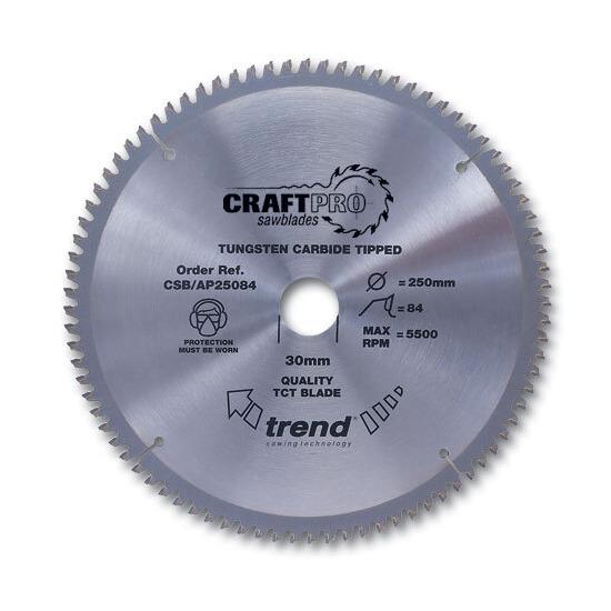 Trend CSB/AP25084 Craft Saw Blade Aluminium And Plastic 250mm X 84 Teeth X 30mm