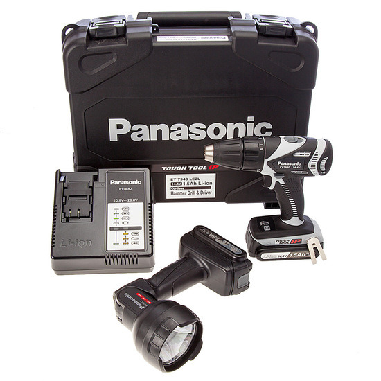 Panasonic EY7940LE2L31 14.4V Cordless Li-ion Combi Drill with Torch (2 Battery)