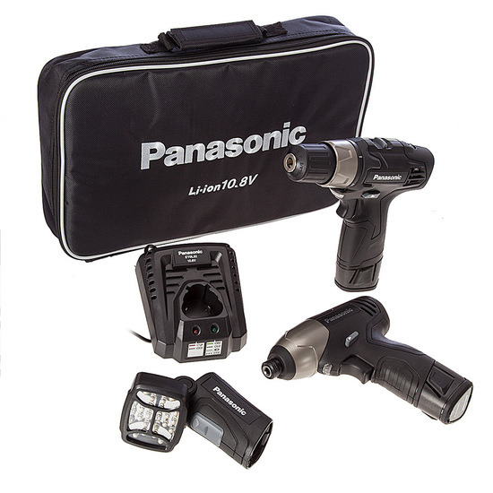 Panasonic EYC110LA2L 10.8V Cordless Drill Driver/Impact Driver/Torch (2 x Batts)