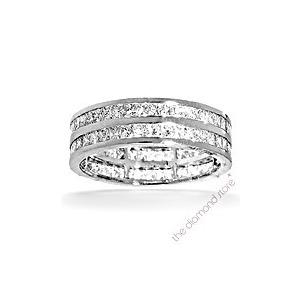 Photo of Holly Platinum g/Vs Princess Cut Diamond Full Eternity Ring 2CT 2 Row Jewellery Woman