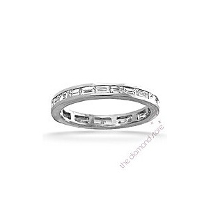 Photo of Lilly Platinum H/Si 1CT Baguette Cut Diamond Full Eternity Ring Jewellery Woman