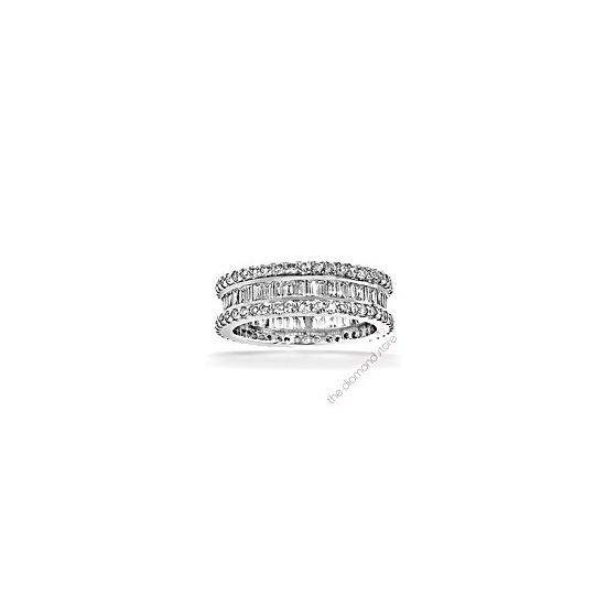 Katie Platinum G/Vs 1ct Baguettes and Rounds Diamond Full Eternity Ring