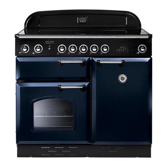 Rangemaster Classic 100 Electric Induction Range Cooker - Regal Blue & Chrome