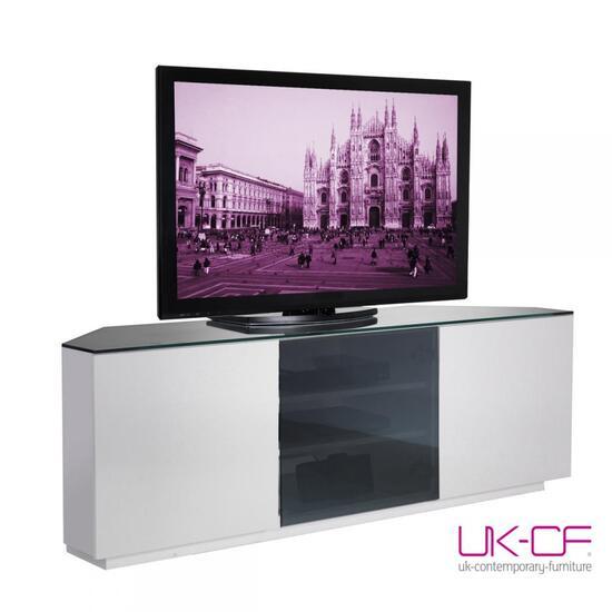 UKCF Milan White Gloss & Black Glass Corner TV Stand 15cm