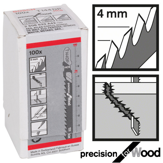 Bosch 2608633A42 Jigsaw Blades T 144 DP - Precision for Wood (Pack of 100)