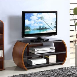 Jual JF208 WB Curve Walnut and Black Glass Curved TV Stand Reviews