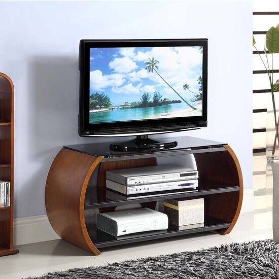 Jual JF208 WB Curve Walnut and Black Glass Curved TV Stand