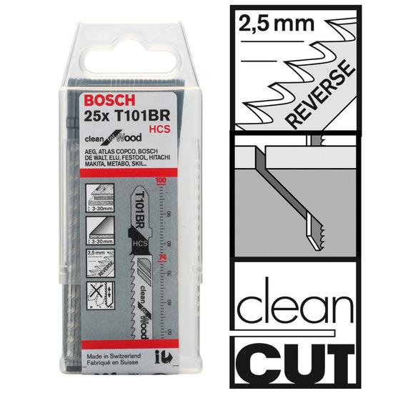 Bosch T101BR (2608633623) Jigsaw Blades - For Wood (25 Piece)