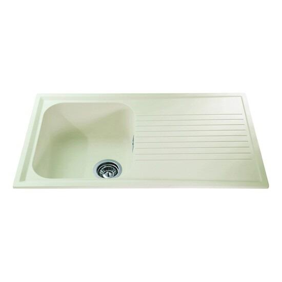 CDA AS1CM Composite Sink Single Bowl 500mm Base Unit Cream