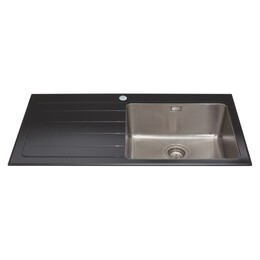 CDA KVL01LBL Glass Sink Single Bowl Left Hand Drainer 600mm Reviews