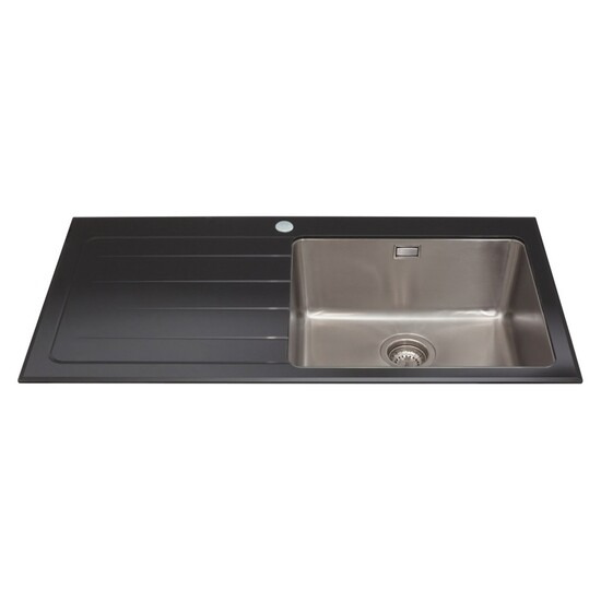 CDA KVL01LBL Glass Sink Single Bowl Left Hand Drainer 600mm
