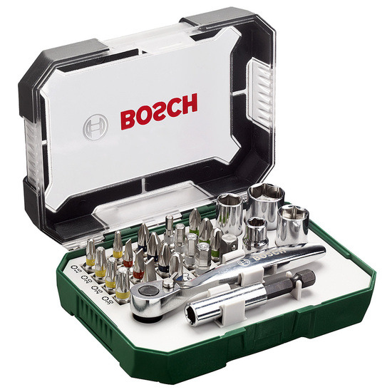 Bosch 2607017322 Screwdriver Bit and Ratchet Set 26 Pieces