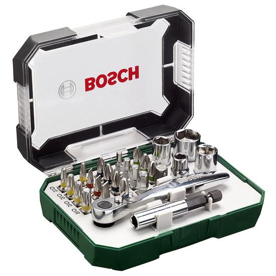Bosch 2607017322 Screwdriver Bit and Ratchet Set 26 Pieces