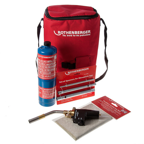 Rothenberger 1.9775, Superfire 2 Torch, Gas, Solder Mat, Spanners and Hotbag