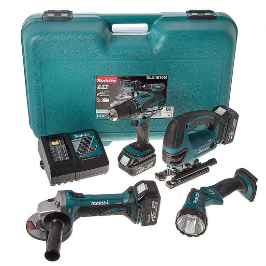 Makita DLX4010M 18V Cordless li-ion 4 Piece Kit (3 x 4Ah Batteries)