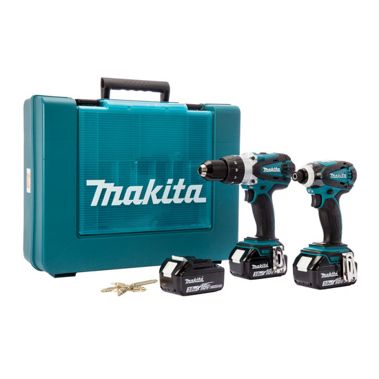 Makita DLX2005X2 18V 2 Piece Cordless Kit + Impact Gold Bits (3 x 3Ah Batteries)