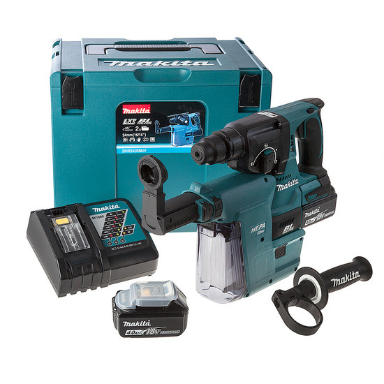 Makita DHR242RMJV 3 Mode Rotary Hammer Drillwith Dust Extractor + 2 4Ah Batts