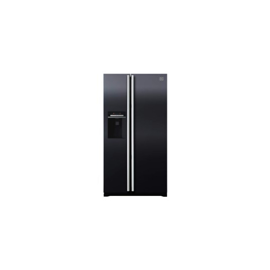 Daewoo FRAX22D3B Side-by-side American Fridge Freezer With Frameless Ice And Water Dispenser Black