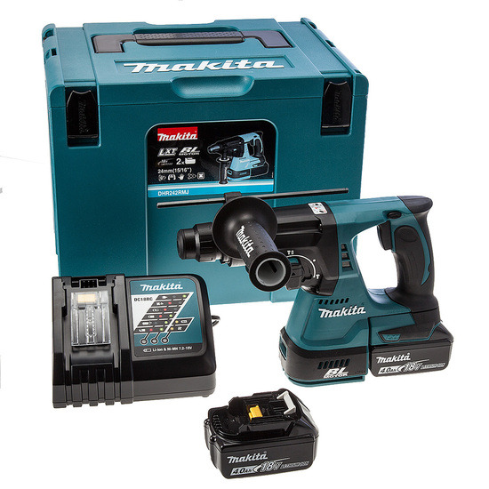 Makita DHR242RMJ SDS Plus 3 Mode Rotary Hammer Drill with 2 4Ah Batteries
