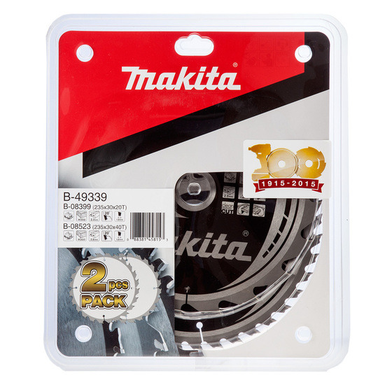 Makita B-49339 TCT Saw Blade Twin Pack for Wood 235mm x 30mm x 20 and 40 Tooth