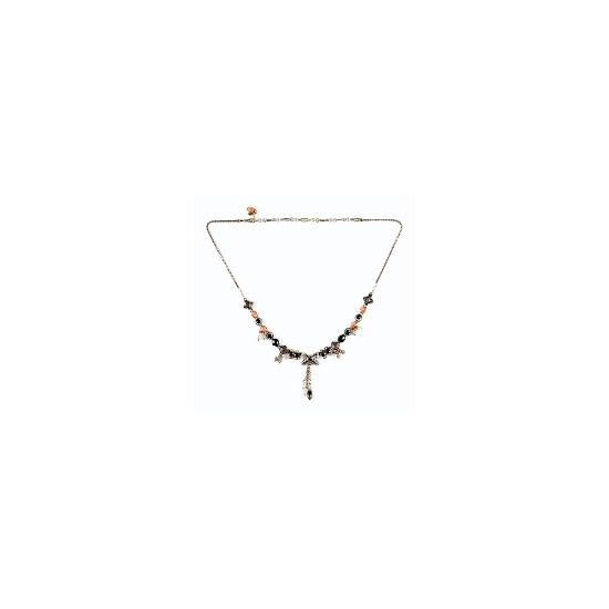Pearl & crystal bow necklace