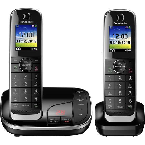 Panasonic KX-TKJ322EB Cordless Phone with Answering Machine - Twin Handsets
