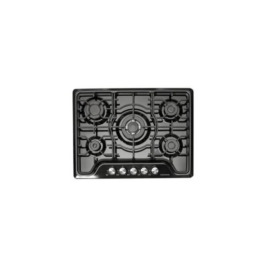 NordMende HGW703BL Black 70cm Gas Hob with Central Wok Burner Front Control
