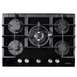 NordMende HGX703BGL Black 70cm Gas-on-Glass Hob with Central Wok Burner - Front Control Reviews