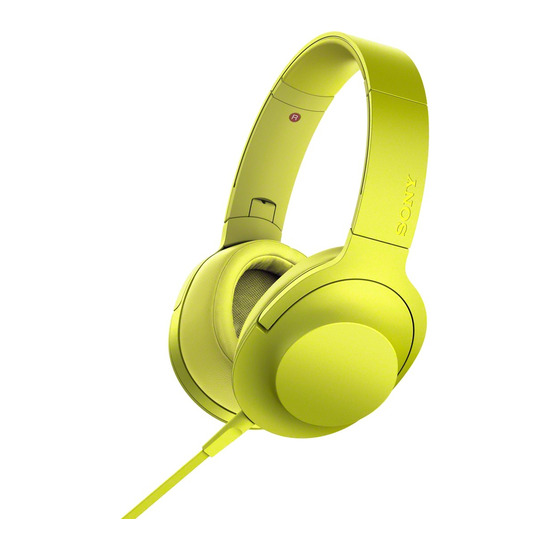 h.ear on MDR-100AAPY Headphones - Lime Yellow