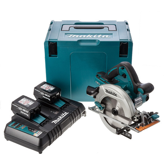 Makita DHS710ZJ 36V Circular Saw + 2 x 18V 5Ah Batteries and Charger