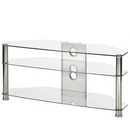 """MMT JET MMT-CL1150 CLEAR GLASS CORNER TV STAND FOR UP TO 55"""" SCREENS Reviews"""