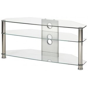 "Photo of MMT JET MMT-CL1150 CLEAR GLASS CORNER TV STAND FOR UP TO 55"" SCREENS TV Stands and Mount"