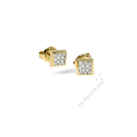 9K Stud Earrings 0.25CT Diamond