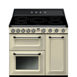 Belling TR93IP 90cm Electric Induction Range Cooker Cream and Stainless Steel