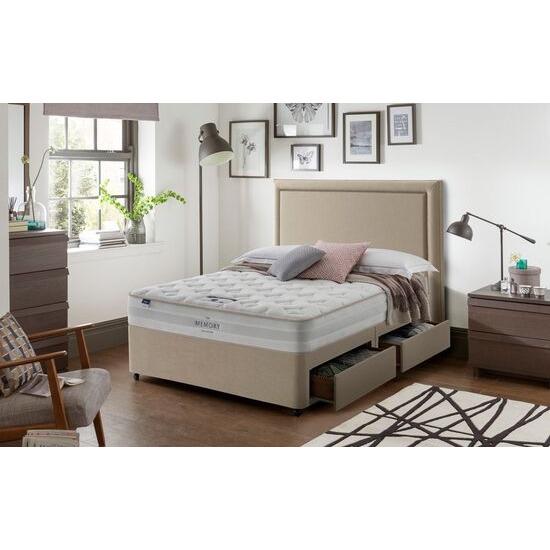 Silentnight Comfort Miracoil Memory Divan Platform Top 4 Drawers in Sandstone King Size