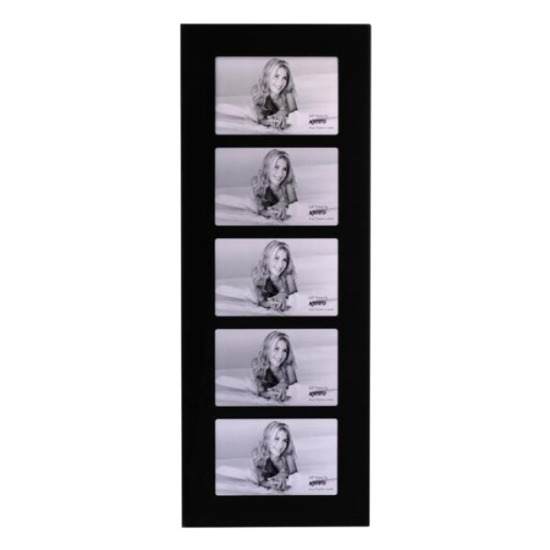 Kenro Black Glass 6x4/10x15cm 5 Aperture Photo Frames