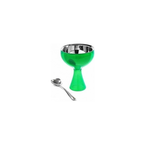 Alessi 'Big Love' Ice-cream Bowl and Heart Spoon AMMI01SGR in Green