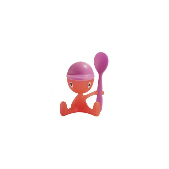 Alessi 'Cico' Eggcup with Spoon and Salt Castor ASG23P in Pink & Orange