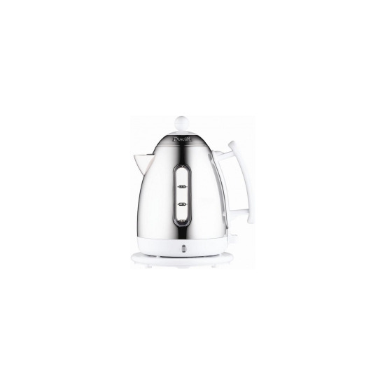 Dualit 1.7 Litre Cordless Electric Kettle 72404 in White with hinged lid