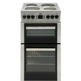 Beko BDV555AX 50cm Wide Double Oven Electric Cooker With Solid Hot Plate Hob Stainless Steel Reviews