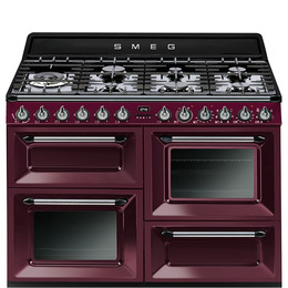 SMEG TR4110RW1 110 cm Dual Fuel Range Cooker Red Wine Stainless Steel Reviews