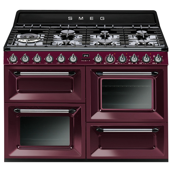 SMEG TR4110RW1 110 cm Dual Fuel Range Cooker Red Wine Stainless Steel