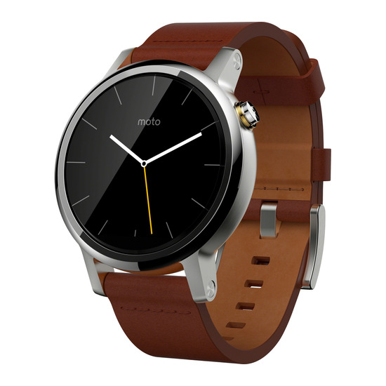 Moto 360 Smartwatch - Stainless Steel & Cognac Leather