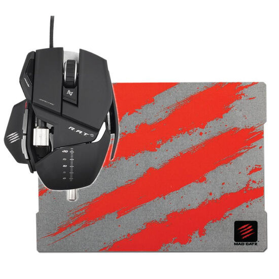 MAD CATZ Cyborg R.A.T. 5 Optical Gaming Mouse with G.L.I.D.E. 3 Gaming Mouse Mat - Red & Grey