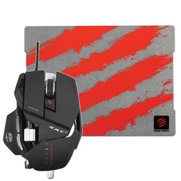 MAD CATZ R.A.T. 7 Laser Gaming Mouse with G.L.I.D.E. 3 Gaming Mouse Mat - Red & Grey