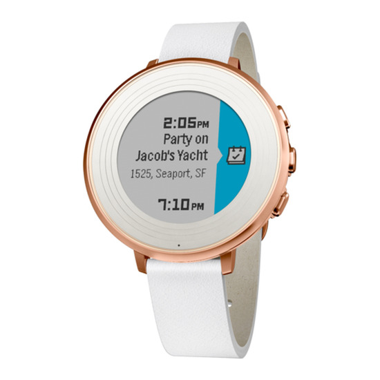 PEBBLE Time Round Smartwatch - Rose Gold & White