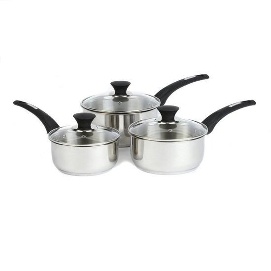 Salter Elegance 3 Piece Steel Sauce Pan Set
