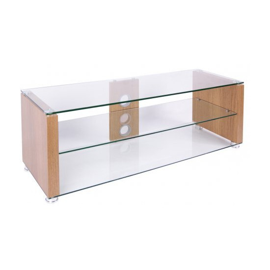 TNW Elegance 1000 Oak and Clear Glass TV Stand