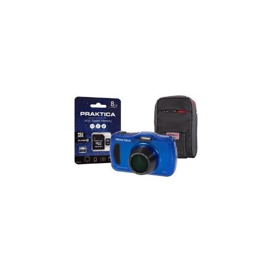 PRAKTICA Luxmedia WP240 Wtprf Blue Camera Kit inc 8GB MicroSD Card & Case